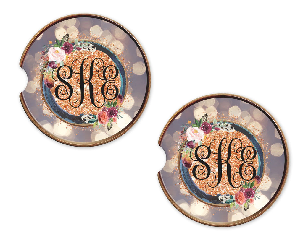 Bokeh Floral and Glitter Personalized Sandstone Car Coasters