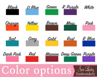 Color Options - Sew Lucky Embroidery