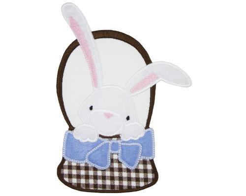 Boy Easter Bunny in Basket Patch