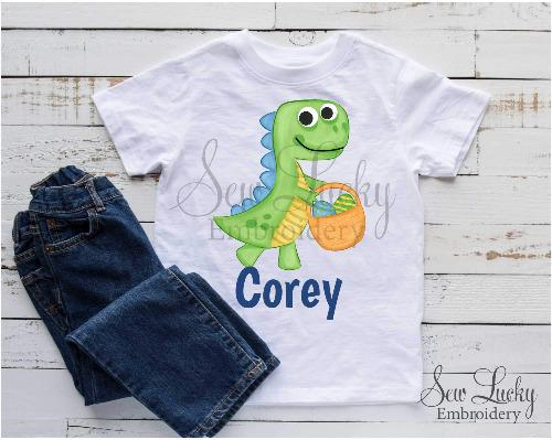 Boy Easter Dino Personalized Printed Shirt