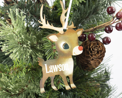 Boy Reindeer Christmas Ornament Personalized