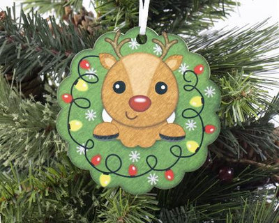 Boy Reindeer Wreath Christmas Ornament
