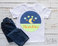 Boys Circle with Stars and Moon Personalized Printed Shirt