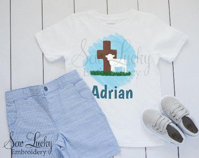 Boys Easter Lamb and Cross Personalized Shirt