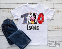 Boys Farm Cow Personalized Birthday Shirt sample 2
