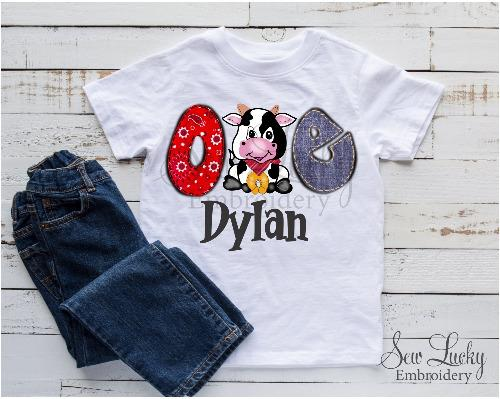 Boys Farm Cow Personalized Birthday Printed Shirt