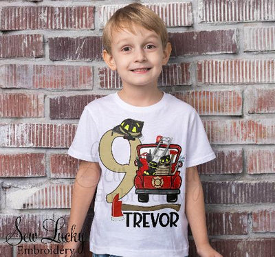 Boys Firefighter Birthday Personalized Shirt