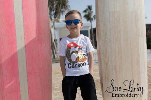 Boys Pirate Birthday Personalized Printed Shirt
