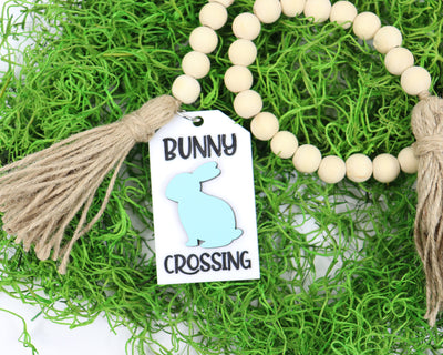 Easter Wood Bead Garland with and Engraved Bunny Crossing Tag