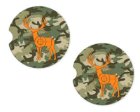 Camo and Deer Sandstone Car Coasters