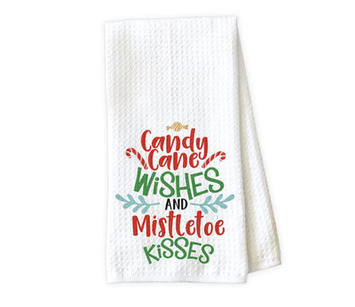 Candy Cane Wishes Waffle Weave Microfiber Kitchen Towel