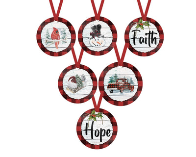 Christmas Black and Red Buffalo Check Ornaments (Set of 6)