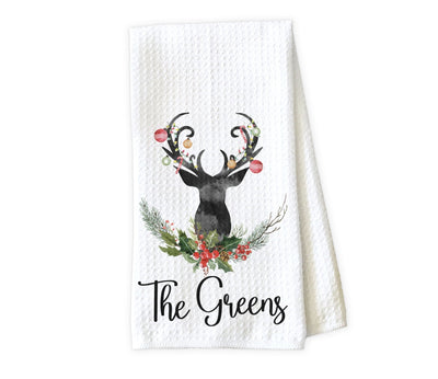Christmas Deer Personalized Waffle Weave Microfiber Kitchen Towel