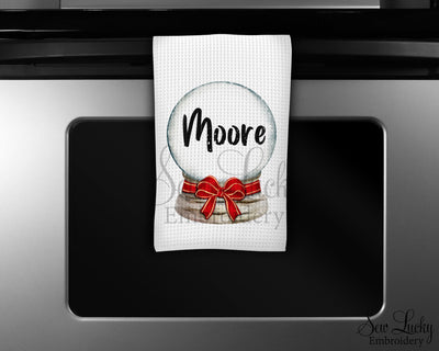 Christmas Globe with Red Ribbon Personalized Waffle Weave Microfiber Kitchen Towel