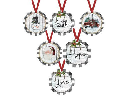 Christmas Gray and White Buffalo Check Ornaments (Set of 6)