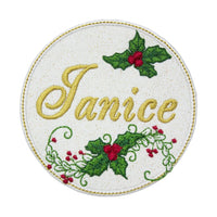 Christmas Holly Name Patch