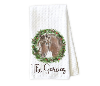 Christmas Horse Wreath Personalized Waffle Weave Microfiber Kitchen Towel