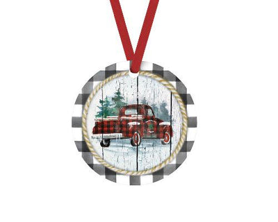Christmas Truck Gray Buffalo Plaid Christmas Ornament