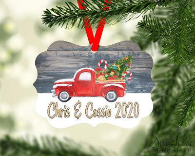 Christmas Truck Hauling Christmas Tree Christmas Ornament Personalized