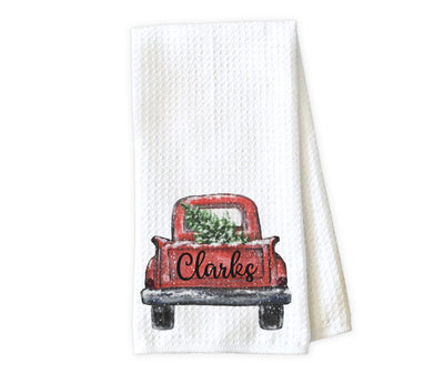 Christmas Truck Personalized Waffle Weave Microfiber Kitchen Towel