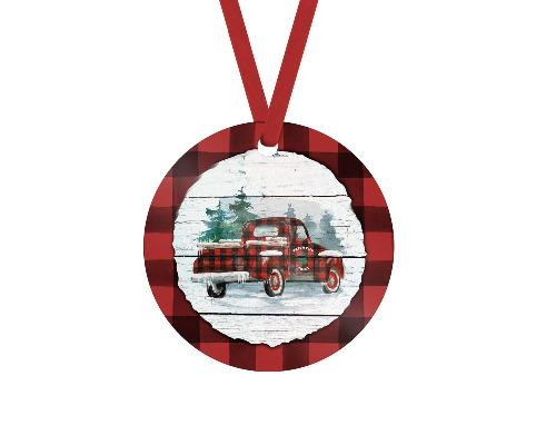 Christmas Truck Red Buffalo Plaid Christmas Ornament - Sew Lucky Embroidery