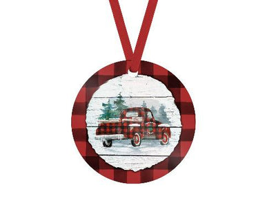 Christmas Truck Red Buffalo Plaid Christmas Ornament