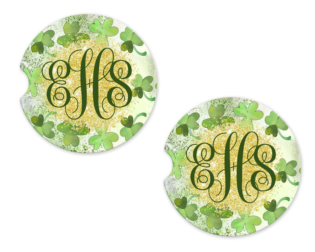 Clovers Personalized Sandstone Car Coasters - Sew Lucky Embroidery