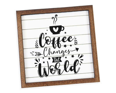 Coffee Changes the World Tier Tray Sign