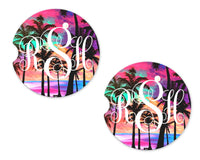 Colorful Beach Personalized Sandstone Car Coasters - Sew Lucky Embroidery