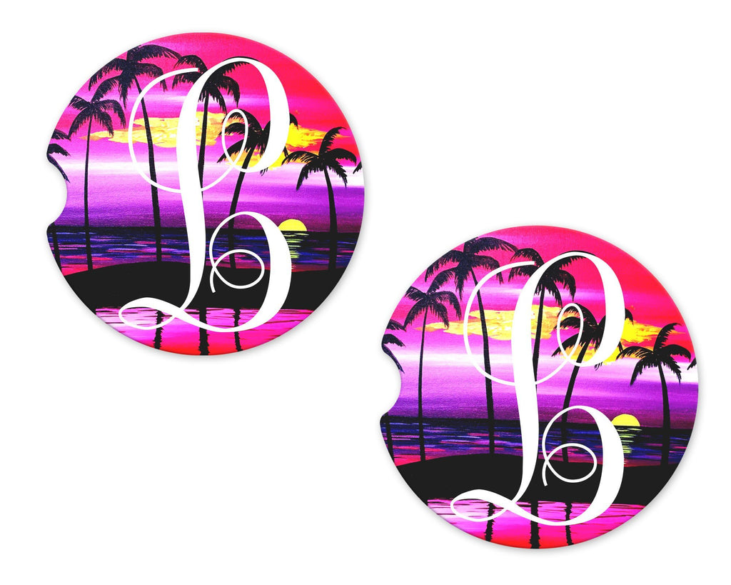 Colorful Beach with Palm Trees Personalized Sandstone Car Coasters - Sew Lucky Embroidery