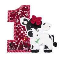 Cow Birthday Number Patch - Sew Lucky Embroidery