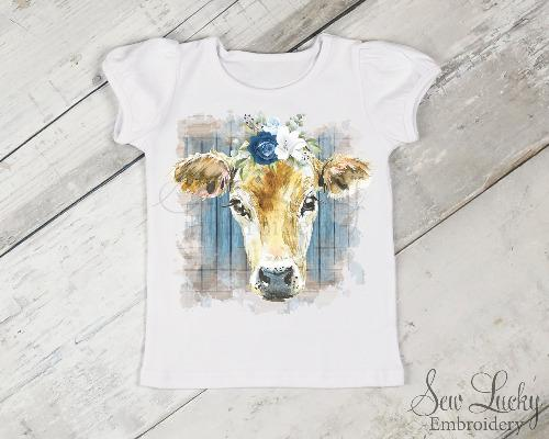 Cow with Blue Flowers Girls Shirt - Sew Lucky Embroidery