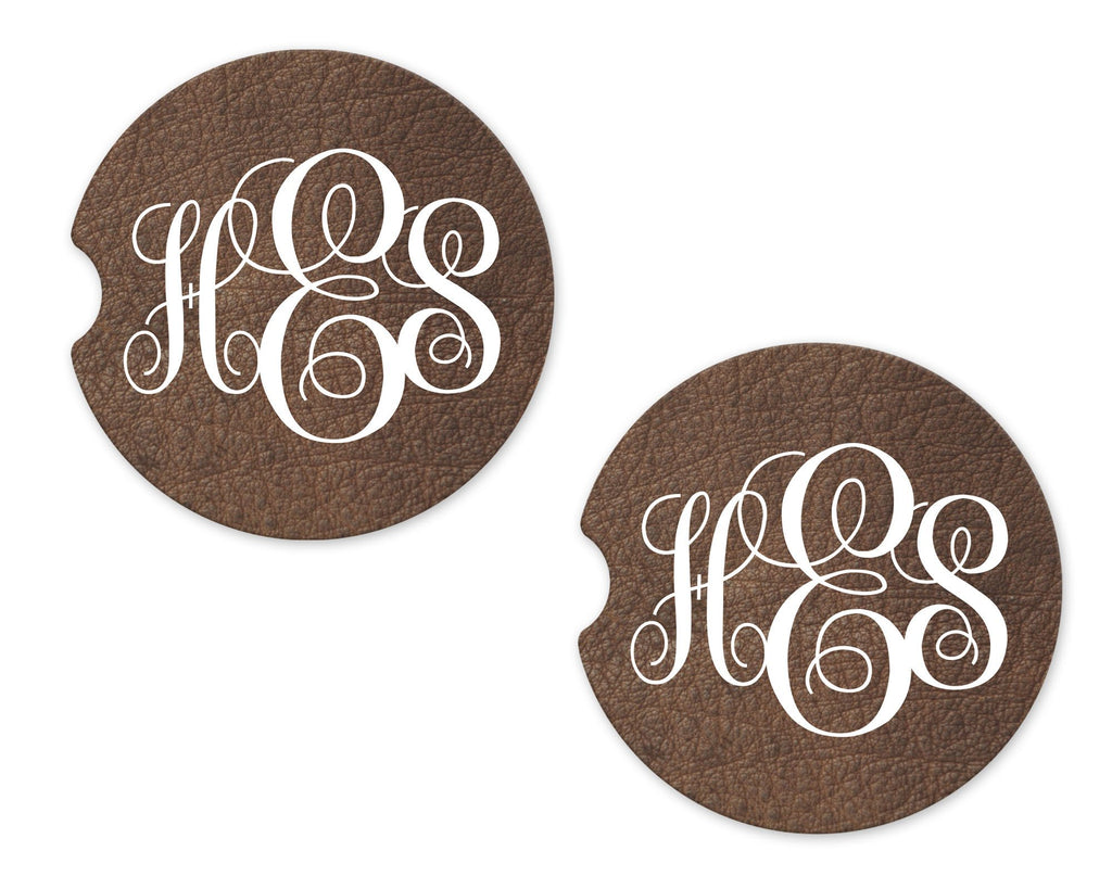 Cracked Leather Personalized Sandstone Car Coasters - Sew Lucky Embroidery