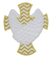 Cross with Wings Patch - Sew Lucky Embroidery