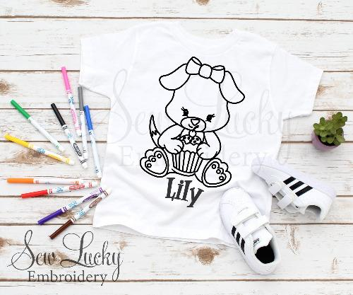 Cupcake Bear Color Me Shirt - Sew Lucky Embroidery