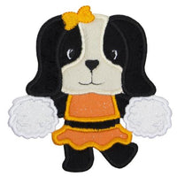 Cute Hound Dog Cheerleader Football Patch - Sew Lucky Embroidery