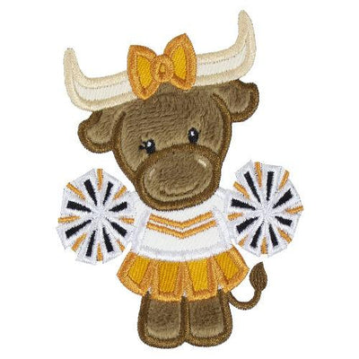 Cute Longhorn Cow Cheerleader Football Patch