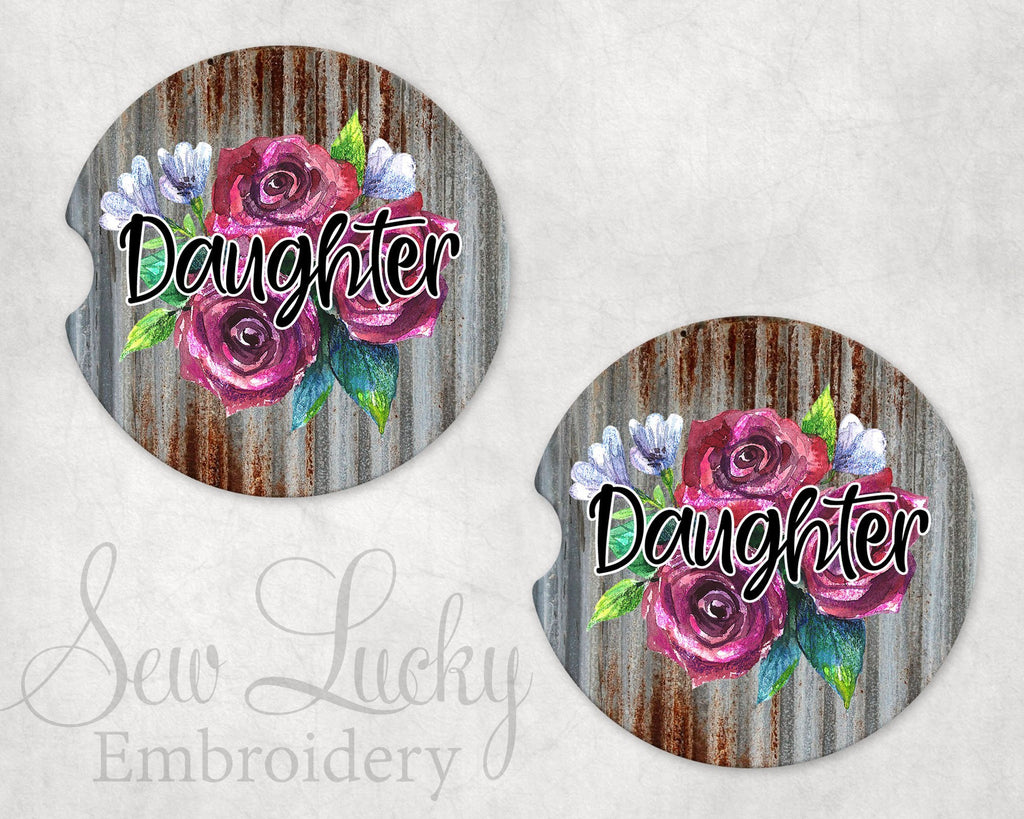 Daughter Floral Metal Sandstone Car Coasters - Sew Lucky Embroidery