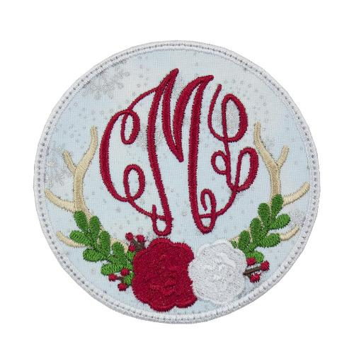 Deer Antlers Monogram Christmas Patch - Sew Lucky Embroidery