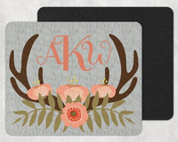 Deer Antlers with Light Pink Flowers Custom Monogram Personalized Mouse Pad - Sew Lucky Embroidery
