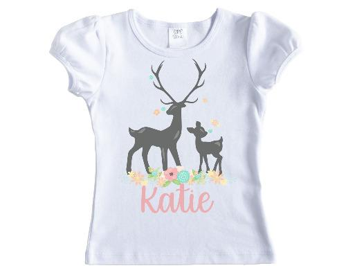 Deer in Spring Feathers Girls Personalized Shirt - Sew Lucky Embroidery