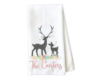 Deer with Flowers Personalized Waffle Weave Microfiber Kitchen Towel