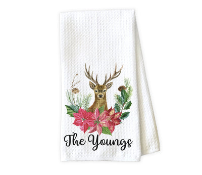 Deer with Poinsettia Personalized Waffle Weave Microfiber Kitchen Towel