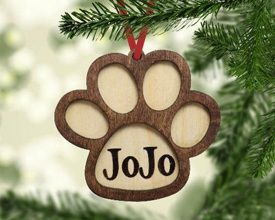 Dog Paw Print Christmas Ornament Personalized