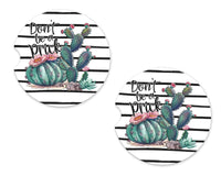 Don't Be A Prick Stripes Sandstone Car Coasters - Sew Lucky Embroidery