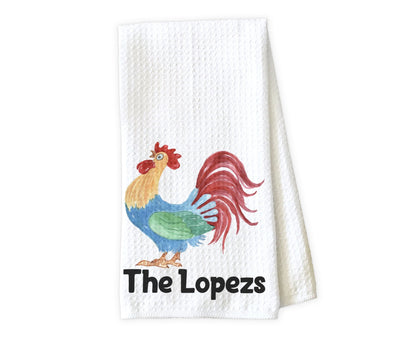 Drawn Chicken Personalized Waffle Weave Microfiber Kitchen Towel