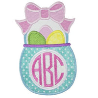 Easter Basket Monogrammed Patch - Sew Lucky Embroidery