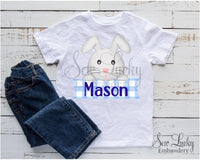 Easter Boy Bunny Personalized Banner Shirt - Sew Lucky Embroidery