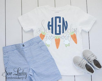 Easter Bunny and Carrot Monogram Shirt