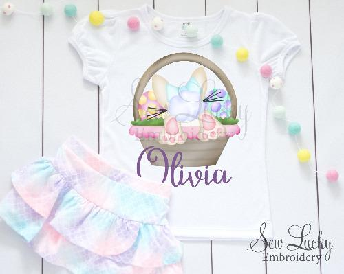 Easter Bunny Girl in Basket Personalized Shirt - Sew Lucky Embroidery